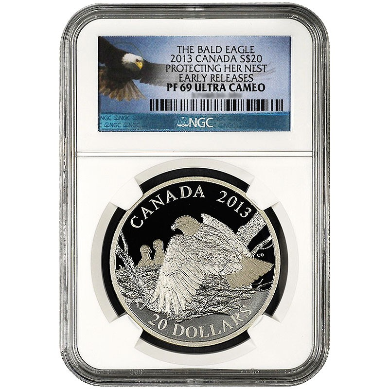 """2013 $20 Silver Bald Eagle /"""" Returning from the Hunt/"""" 1-oz PF70 ER NGC REDUCED!"""